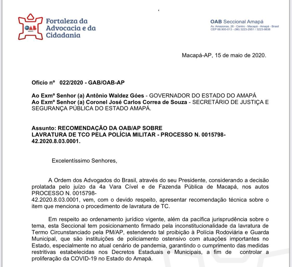 OAB/AP apresenta recomendação técnica sobre inconstitucionalidade de Termo circunstanciado lavrado pela Polícia Militar